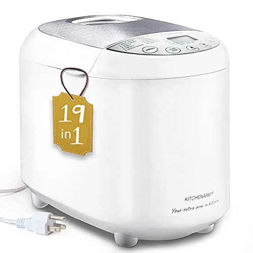 KITCHENARM 19-in-1 HANDY Bread Machine (2LB 1.5LB 1LB 3 Loaf Sizes) - Beginner Friendly Bread Maker Machine with Gluten Free Setting 3 Crusts - Bread Making Machine with Recipes 15 Hours Delay Timer
