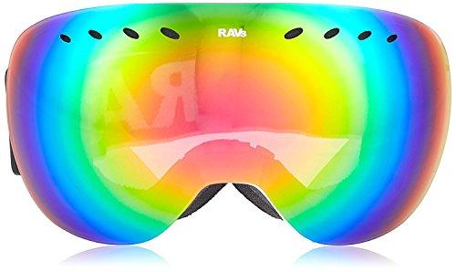 Ravs by Alpland Skibrille SNOWBOARDBRILLE - Rahmenlos Special Design - GLÄSER 100% Red Lasergold VERSPIEGELT!HELMKOMPATIBEL ANTIFOG SPHÄRISCHE DOPPELSCHEIBE inkl. SOFTBAG