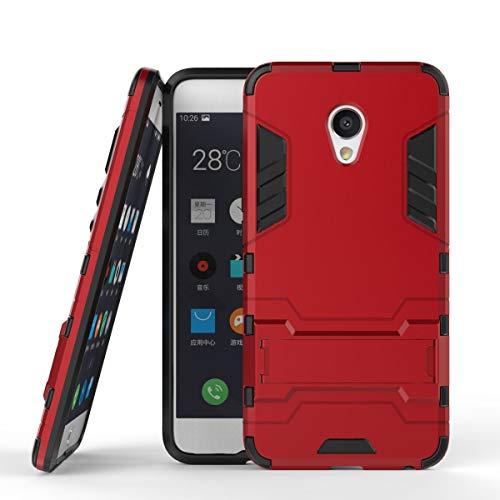 tinyue® Handyhülle für Meizu MX6, Hülle 2 in 1 Material Harte Schwer doppelte kratzfester Handyfall im Freienhandyfall Iron Man Rüstung mit Kickstand Hülle, Rot