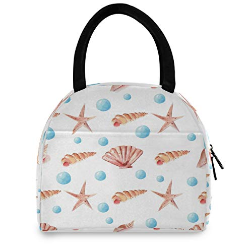 Vdsrup Watercolor Seashell And Starfish Lunch Bag Insulated Tote Bag Nautical Marine Pearls Lunch Box Cooler Bag Water-resistant Thermal Lunch Boxes Snacks Organizer for Work Office Outdoor Picnic