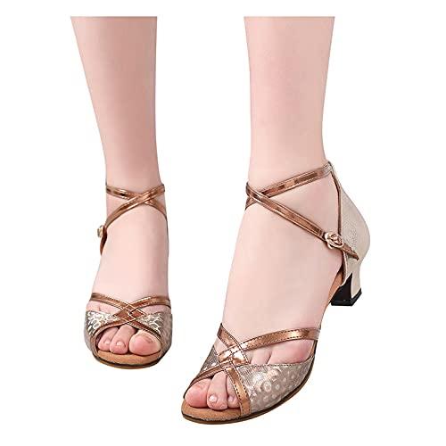 Zapatos de Baile de Salsa Latina para Mujer, Tacones con Purpurina Brillante,...