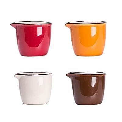 CHOOLD Colorful Mini Ceramic Creamer,Coffee Milk Creamer Pitcher/Serving Pitcher/Sauce Pitcher/Milk Creamer Jug for Kitchen 4Pcs (Multiple Color)
