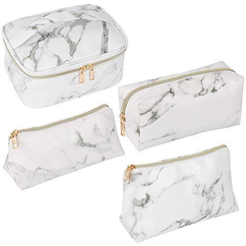 Danme 4pcs Travel Makeup Train Case Cosmetic Organizer Portable Storage Bag for Makeup Brush Lipstick