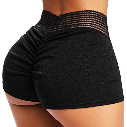 INSTINNCT Damen Shorts Sport Yoga Kurze Hose Sweatpants Laufshorts Training Gym Yoga Fitness Yoga A-Schwarz ohne Taschen(1720) L