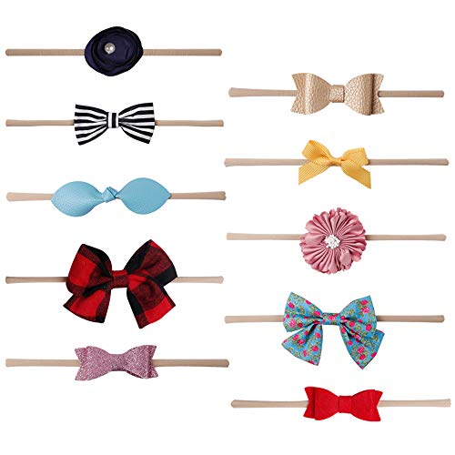 Ncmama Cotton Hair Bows Nylon Elastic Baby Girls Headbands for Newborn Infant Toddler Hairband Pack of 10