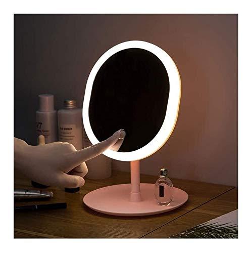 GAOTTINGSD Espejo Maquillaje Espejos De Maquillaje con Luz LED Blanco Natural De La Luz del Día Espejo De Baño Desmontable Base De Almacenamiento LED Espejo