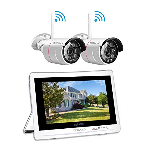 3MP Überwachungskamera Set Aussen WLAN mit 12 Zoll Monitor, YESKAMO Videoüberwachung NVR Funk Überwachungssystem mit 1TB Festplatte, 30m Nachtsicht, Bewegungserkennung
