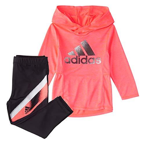 adidas Baby Girls' Li'l Sport Hooded Tunic & Leggings Clothing Set, Signal Pink, 24 Months