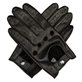 Harssidanzar Mens Leather Driving Gloves Unlined Touchscreen, Black, L