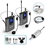 Hotec Wireless System with Dual Headset Microphones/Lavalier Lapel Mics and Bodypack Transmitters and One Mini Rechargeable Receiver 1/4' Output, for Live Performances