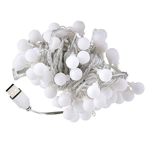 Tomaibaby - Guirnalda luminosa USB, carga bola de plástico para exteriores, LED, lámparas colgantes para fiestas en casa, vacaciones, árbol de Navidad, jardín, decoración de boda
