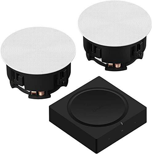 Sonos Amp Set | mit 1 Paar In-Ceiling Speaker by Sonance - (passiv, kabelgebundene Decken-Einbau-Lautsprecher, Sonos Trueplay Tuning)