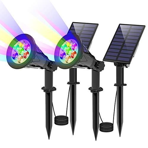 T-SUN 7 LED Solarstrahler Solarleuchten, 2-in-1 Wasserdicht Solar Gartenleuchten Solarlampe Außen Wandleuchte Wasserdicht mit 3M Kabel, 7 Farbwechsel Gartenbeleuchtung für Hof, Rasen, Wege(2 Stück)