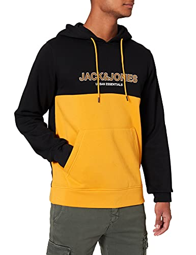Jack & Jones JJEURBAN Blocking Sweat Hood Noos Sudadera con Capucha, Naranja Dorada. Detalles: impresión Dorada y Blanca, Corte estándar, M para Hombre