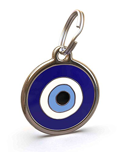 UNLEASHED.DOG Customizable Engraved Cat/Dog ID Tag - Stainless Steel with Evil Eye Enamel Inlay - Small