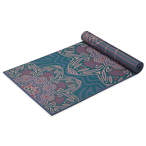 Gaiam Yoga Mat Premium Print Reversible Extra Thick Non Slip Exercise & Fitness Mat for All Types of Yoga, Pilates & Floor Workouts, Jade Salutation, 6mm