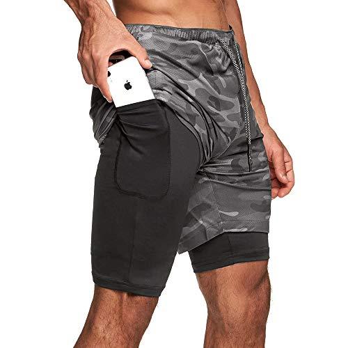 Superora Shorts Deportivos Hombre 2 en 1 Pantalones Cortos para Correr con...