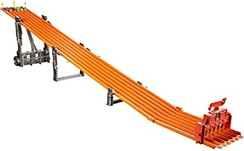 Hot Wheels Super 6-Lane Raceway with Lights & Sounds Includes 6 Hot Wheels Vehicles Track Unfolds to 8 Feet Collapses for Easy Storage Gift for Kids 5 Years & Older