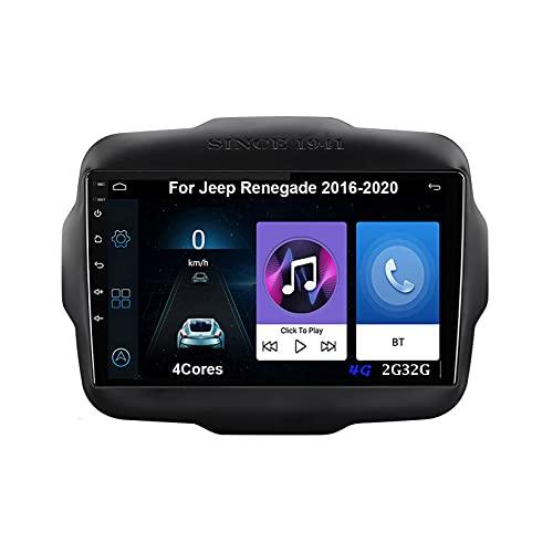 Android 10 Autoradio 9 Pulgadas Coche Radio De Coche Pantalla Tactil Para Jeep Renegade 2016-2020 Radio Del Coche Car Player Conecta Y Reproduce Coche Audio USB Cámara Trasera