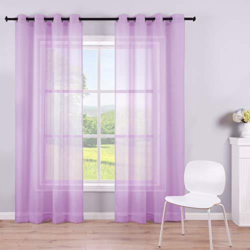 84 Inch Sheer Purple Curtain Panel Grommet 2 Pieces Window Faux Linen Transparent Voile Drape Semi Sheer Curtains for Bedroom Girls Baby Nursery Room Closet Wide 52 Length 1 Pair Light Lilac Lavender