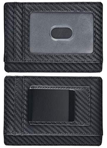 Money Clip, Front Pocket Wallet, Leather RFID Blocking Strong Magnet thin Wallet (Carbon Fiber Separable Money Clip D)