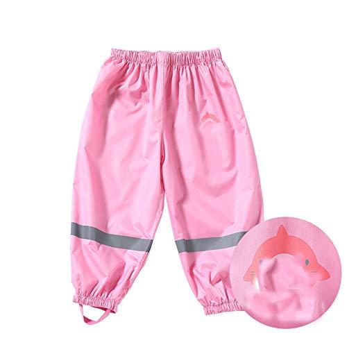 GFHD Niños pequeños Lluvia Impermeable Pantalones niñas niñas Lodo Sucio Plancha Pantalones niños con Capucha Lluvia ponchowearwear 326 (Color : Pink, Size : Small)
