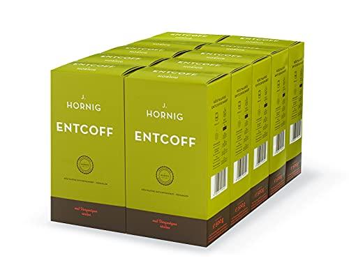 J. Hornig Koffeinfreier Kaffee gemahlen, Entcoff, 10er Pack, Großpackung (10 x 500g), entkoffeinierter Kaffee mit sanftem Geschmack, perfekt für Filterkaffee und Espressokanne