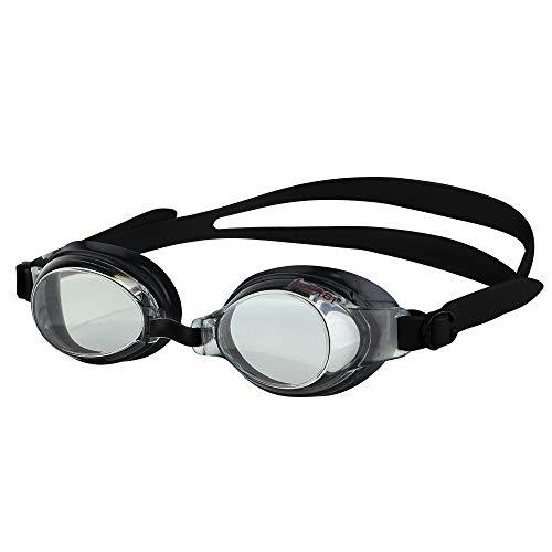 KONA81 Optische Schwimmbrille mit Sehstärke für Damen und Herren, 100% UV-Schutz, Anti-Beschlag-Beschichtung, Wasserdicht #71395 (Schwarz, Verschiedene Sehstärke (In Nachricht Angeben))