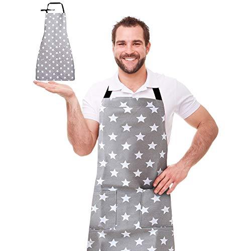 WELLXUNK Schürze,Küchenschürze Damen Schürze Kochschürze,Schürze mit Tasche für Frauen Kochen Arbeit Hausarbeit,zum Kochen oder Backen (grau)