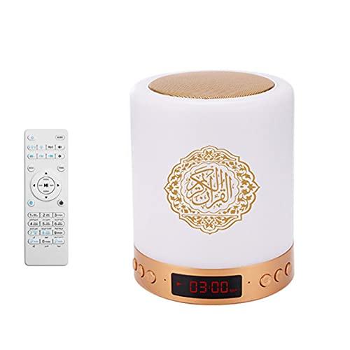AnXiongStore Sq-525 Interruptor táctil de 16 Colores Lámpara de Altavoz Corán Reproductor de MP3 inalámbrico Radio Corán Reloj Digital LED Azan Luz de Noche