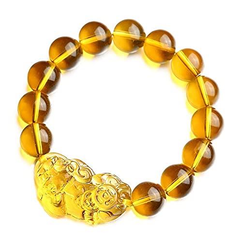 ZDZDQQ Citrine Crystal Stone Bracelet Round Gemstone Bead Bracelets Feng Shui Pixiu Bracelet Amulet Bracelet Jewelry Bring Good Luck and Wealth
