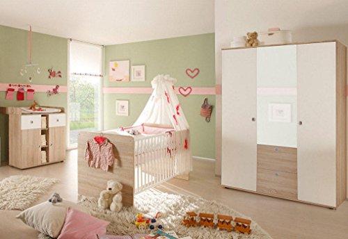 Babyzimmer Kinderzimmer komplett Set Wiki 5 in Eiche Sonoma/Weiß Komplettset mit grossem Kleiderschrank mit 3 Türen (Davon 1 Spiegeltür), Babybett, Lattenrost und Wickelkommode mit Wickelaufsatz