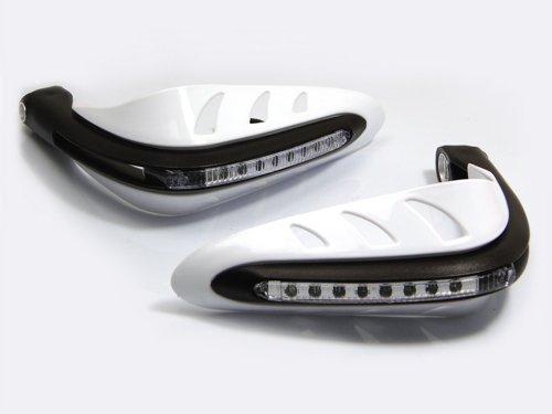 Weiß Motorrad Quad Handprotektoren Protektoren Mit LED Tagfahrlicht