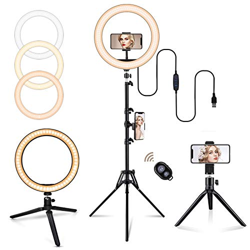 "10"" Ring Light with Tripod Stand, BEACON Selfie Ring Light for Live Stream/Makeup/Tiktok/Vlogging, Dimmable LED Ring Light Compatible with iPhone & Android (2 Tripods Included)"