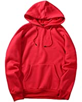 NREALY New Men's Fall Casual Solid Hip Pop Loose Fit Fleece Long Sleeve Hoodie Top Blouse(M, Red)