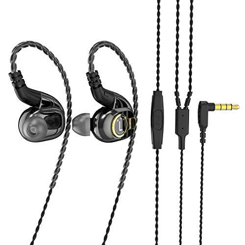 HiFi in Ear Monitor, BLON BL05 in Ear Earphone,10mm Carbon Diaphragm Dynamic Drive Bass HiFi DJ in Ear Monitor, in Ear Headphone with 2pins Detachable Cable Wired Earphone(Gun with Mic)