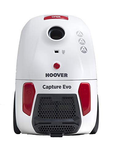 Hoover Capture Bagged Cylinder Vacuum Cleaner, BV71CP10, Hygienic, Allergy, Lightweight, Compact - White/Red