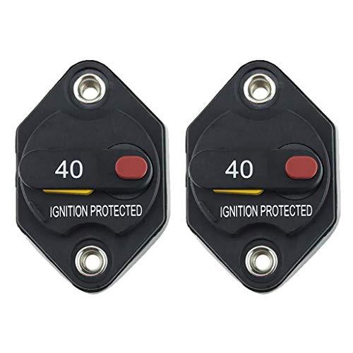 BEVANNJJ ZYY 40 Interruptor Amp Coche Automotive Circuito Marina Barco de Audio con restablecimiento Manual, a Prueba de Agua (2 Unidades)