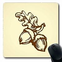 マウスパッド植物ベージュオーク2大きく熟した生新鮮おいしいスケッチ自然フルーツブラウンドングリ秋バイオ植物長方形滑り止めゲーミングマウスパッドゴム長方形マット