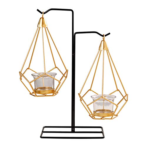LQX Heavy Duty Candlestick Holders Modern Metal Candle Holder Three-Dimensional Geometric Glass Candelabra Hang Black Pillar Candle Stand.