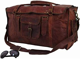24 Inch Vintage Leather Duffel Travel Gym Sports Overnight Weekend Duffel Bag