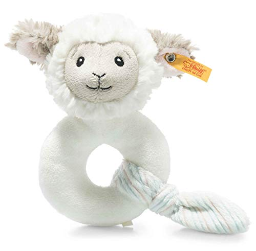Steiff 242328 Soft Cuddly Friends Lita Lamm Greifring - 14 cm - Kuscheltier für Babys - creme (242328), weiß 61 g