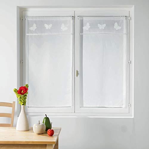 Le Jardin des Cigales 3003369 OPALINE Paire droite passe tringle Polyester Blanc 90 x 60 cm