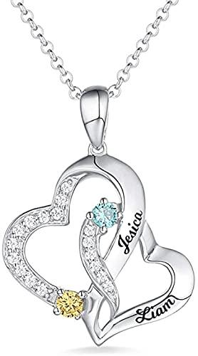 Collar YCHZX de plata de ley 925 Collar con nombre de piedra de nacimiento Collar de corazón de doble corazón de amor de plata de ley 925, adecuado para parejas, parejas, madres Plata