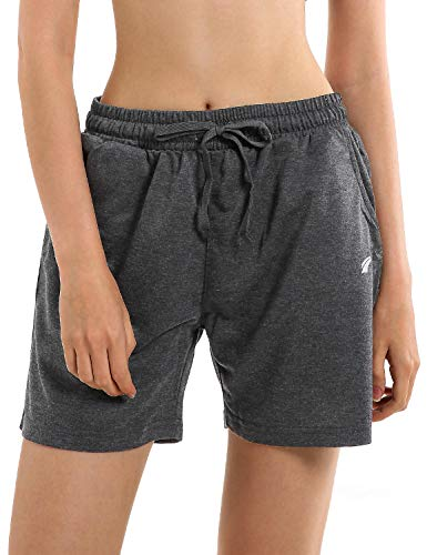 EZRUN Women's Workout Jogger Shorts Lounge Activewear Gym Yoga Sweat Shorts with Pockets(Charcoal,S)
