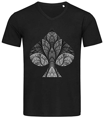 Desconocido Ace of Spades Poker Player Graphic Camiseta Estampada de algodón con Cuello en V para Hombre X-Large