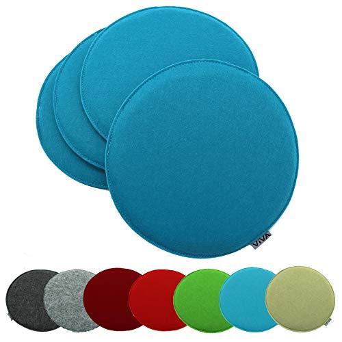 heimtexland ® 4er Pack Sitzkissen Filz Rund 35 cm Aqua Blau Filzkissen Stuhlkissen Polster Auflage Kissen Typ631