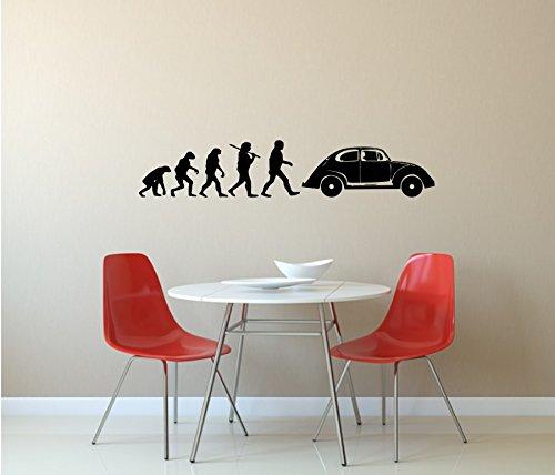 VW-Käfer, Wandtattoo, Evolution, Volkswagen, Auto, Kult, verschiedene Farben und Größen (M010 Weiß, 1200 mm x 240 mm)
