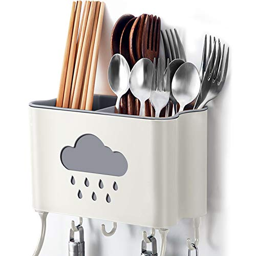 IWNTWY Utensil Drying Rack Wall Mount Kitchen Utensils Holder Drainer Basket with Detachable Rag Rod and 4 Hooks 2 Divided Compartments for Storage Forks Knives Spoons Chopsticks Beige