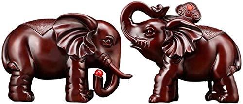 WXQY Holzmaserung Elefant Statue, Glück Elefant Statue, Skulptur Reichtum Figur Geschenk Geschnitzte Naturstein Dekoration
